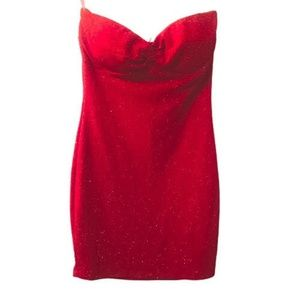 NWOT FOREIGN EXCHANGE Red Glitter Strapless Dress